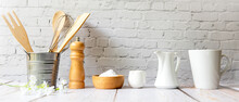 Kitchen Tools And Kitchenware Utensil Object With Ingredients On Kitchen Shelf Wood White For Healthy Eat And Health Care Life.  Wall White Brick Background, Copy Space For Text