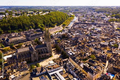Stampa su Tela Drone view of summer cityscape of Quimper on Odet river with Gothic Roman Cathol
