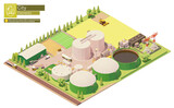 Vector isometric biogas power plant. Biogas plant production from agricultural waste and biomass. Electricity production. Combine harvester working on rapeseed field