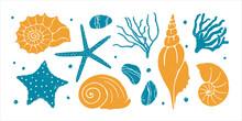 Textured Underwater World Set. Seashells, Starfish, Algae, Corals And Beach Pebbles. Vector Shabby Hand Drawn Illustration