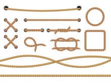 Different Ropes. Realistic Marine Round And Square Rope Border. Jute Or Hemp Cordage Frames, Curve And Straight Lasso, Round Twine Loop And Knot Isolated Decorative Elements Vector Set