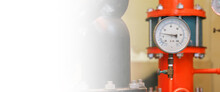 Pressure Gauge Psi Meter In Pipe And Valves Of Fire Emergency System Industry.