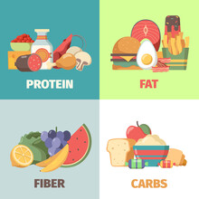 Food Nutrition. Proteins Fats Carbohydrates Fiber Health Products For Natural Diet Nutrition Group Garish Vector Cartoon Illustrations