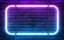 Neon Light Frame Shining On Brick Wall Background. 3d Rendering