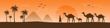 Arabesque Web Horizontal Banner, Camel And Palm Tree Silhouette, Beautiful Sunlight, Sunset, Sunrise, Islamic Background Template Illustration Vector