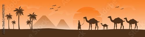 Fotografie, Obraz arabesque web horizontal banner, camel and palm tree silhouette, beautiful sunli