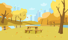 Vector Autumn Park Scenery. Public Garden With Picnic Table, Yellow Trees, River And City Silhouette.