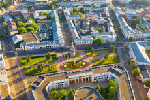 Aerial Drone View Of The Old City Center With Alexander Nevsky Chapel In Summer Of Yaroslavl, Russia.