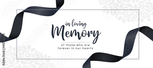 Fotografia, Obraz In loving memory of those who are forever in our hearts text and black ribbon ro
