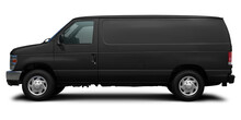 Modern American Cargo Minibus Black Color Side View. Isolated On A White Background.
