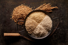 Various Types Of Rice In Bowl