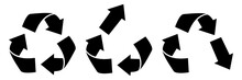 Set Of Vector Recycling, Upcycling And Downcycling Signs, Isolated Icons On White Background. Black Reuse Symbols For Ecological Design, Marking, Product Labeling. Zero Waste Lifestyle