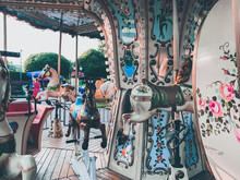 Retro Children Carousel In The Park, Empty Carousel