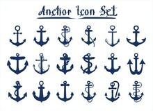 Blue Anchor Icon Set For Presentation, Print, Website, Apps