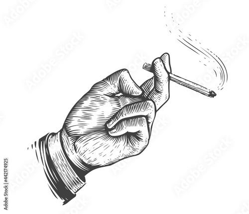 Smoke break. Cigarette in hand in vintage engraving style