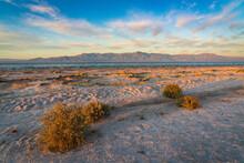 Salton Sea In Southern California At Sunset, USA