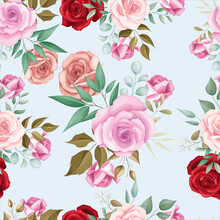 Elegant Floral Seamless Pattern With Romantic Roses