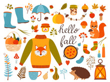 Autumn Icons Set - Maple Leaves, Mushrooms, Coffee Cup, Pumpkin Pie, Candles, Hedgehog, Squirrel, Pumpkin, Fruit Basket, Rubber Boots And Umbrella.