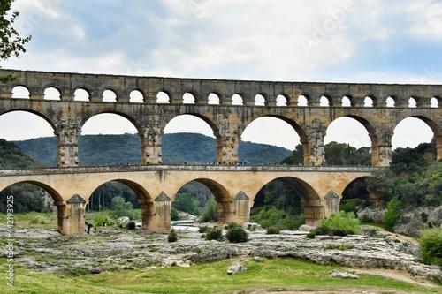 Fotografiet pont du gard, photo as a background , in Pont du gard, gardon, nimes france