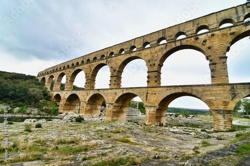 pont du aqueduct in france, photo as a background , in Pont du gard, gardon, nim Fototapet