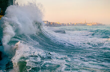 Big Wave Crushing, High Tide In Saint-Malo
