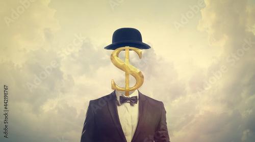 Obraz na plátně Greed Concept - Businessman with Dollar Sign for a Head