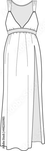Fotografie, Obraz Sleep wear pyjama long gown vector isolated template illustration