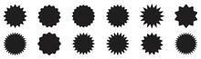 Collection Of Black Price Sticker, Sunburst Badges. Sale Or Discount Sticker. Starburst Vintage Labels, Vector Illustration