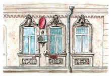 Watercolor Hand Drawn Sketch Illustration Of Facade Of An Old House With Three Windows And A Red Satellite Dish Art