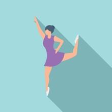 Dancing Ballerina Icon Flat Vector. Ballet Dance Girl