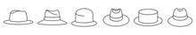 Classic Panama Hat Icon. Set Of Vintage Panama Hat Icons. Vector Illustration. Panama Hat Vector Icons. Black Linear Hat Icons