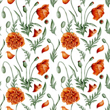Digital Watercolor Seamless Pattern With Red Wild Poppies, Seedpods, Buds, And Green Leaves On The White Background. Colorful Endless Pattern For Textile Or Wedding Wrapping Paper.