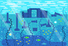 Ancient Ruins Underwater, Among Seaweed And Fish, Vector Illustration In Flat Cartoon Stile