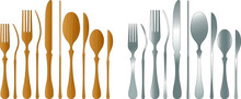 Set Of Fork, Knife And Spoon Isolated On White Background. Wooden And Stainless Steel. Vector Illustration.