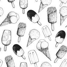 Ice Cream Hand Drawn Seamless Pattern. Vintage Vector Illustration. Food Menu Background. Engraved Style. Dessert Sketch.