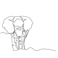 Elephant Protection Day. The Elephant Is Coming. The Inscription Is In English Blogger. Solid Line. Vector Illustration Drawn With A Single Line.