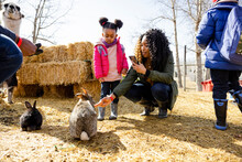 Mother And Daughter Petting Rabbits On Sunny Farm