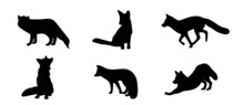 Fox Silhouettes. Vector Illustration.