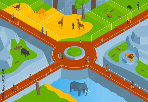 Isometric Zoo Horizontal Composition With Birds Eye View Zoological Park With La Fototapet