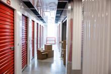Cardboard Boxes In Storage Facility Corridor