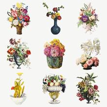 Vintage Flowers Botanical Illustration Set