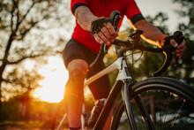 Close Up Of Man Riding Bike