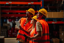 Warehouse Workers Team Do Inventory