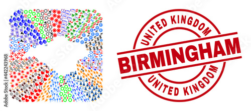 Fotografie, Obraz Vector collage Isle of Wight map of different pictograms and United Kingdom Birmingham badge