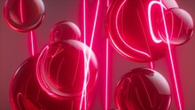 3d Render, Abstract Neon Background With Glass Balls And Laser Rays, Glowing Infrared Light