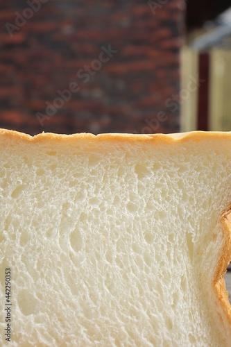Fototapeta Close up of sliced loaf white bread breakfast food