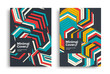 Set of geometric posters design. Dynamic striped background design for covers, flyers. Vector Line arrow graphic cover.