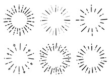 Hand Drawn Set Of Sunburst Shine Ray And Sparkle. Doodle Sketch Style. Circle Burst Of Sun, Star. Vector Illustration.
