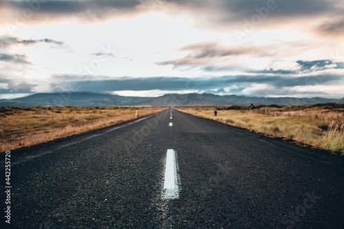 Fotografija Asphalted road with dry scrubland around it