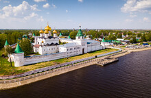 View Of Male Ipatiev Monastery On Bank Of River In Russian City Of Kostroma On Sunny Spring Day